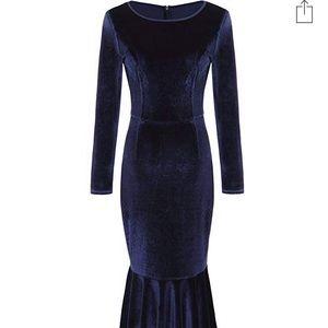Blue velvet midi mermaid dress